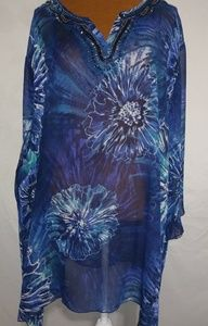 Maggie Barnes Blue Beaded Flower Burst Top Sz 4X
